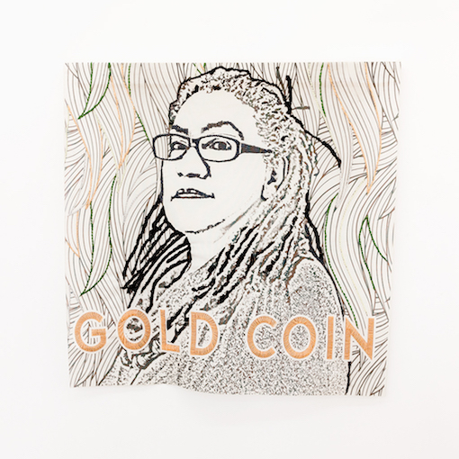 Patricia Kaersenhout, Proud Rebels, 2015 Digital Print on polyester mesh, beads 111x111 cm, unique (Gloria Wekker)